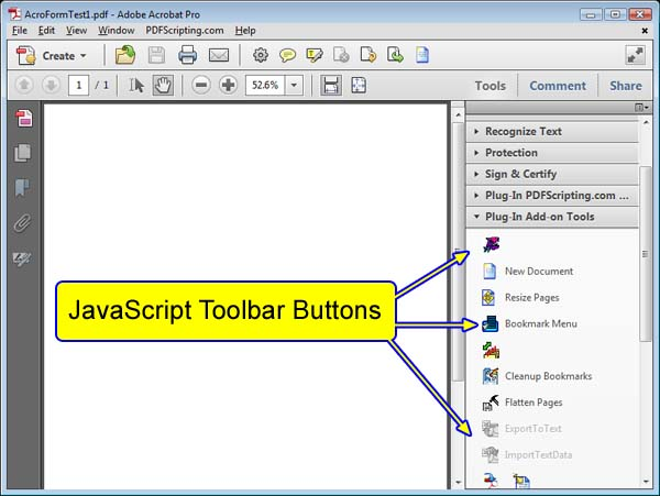 <b>Figure 2</b> - JavaScript Toolbar Button location for Acrobat version X.