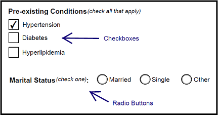 Checkboxes and Radio buttons