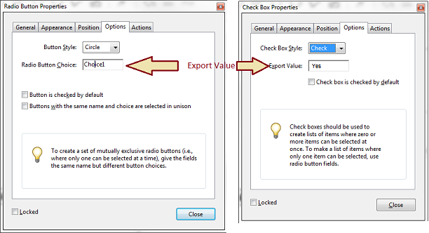 figure 3: both radio buttons and check boxes export a string value